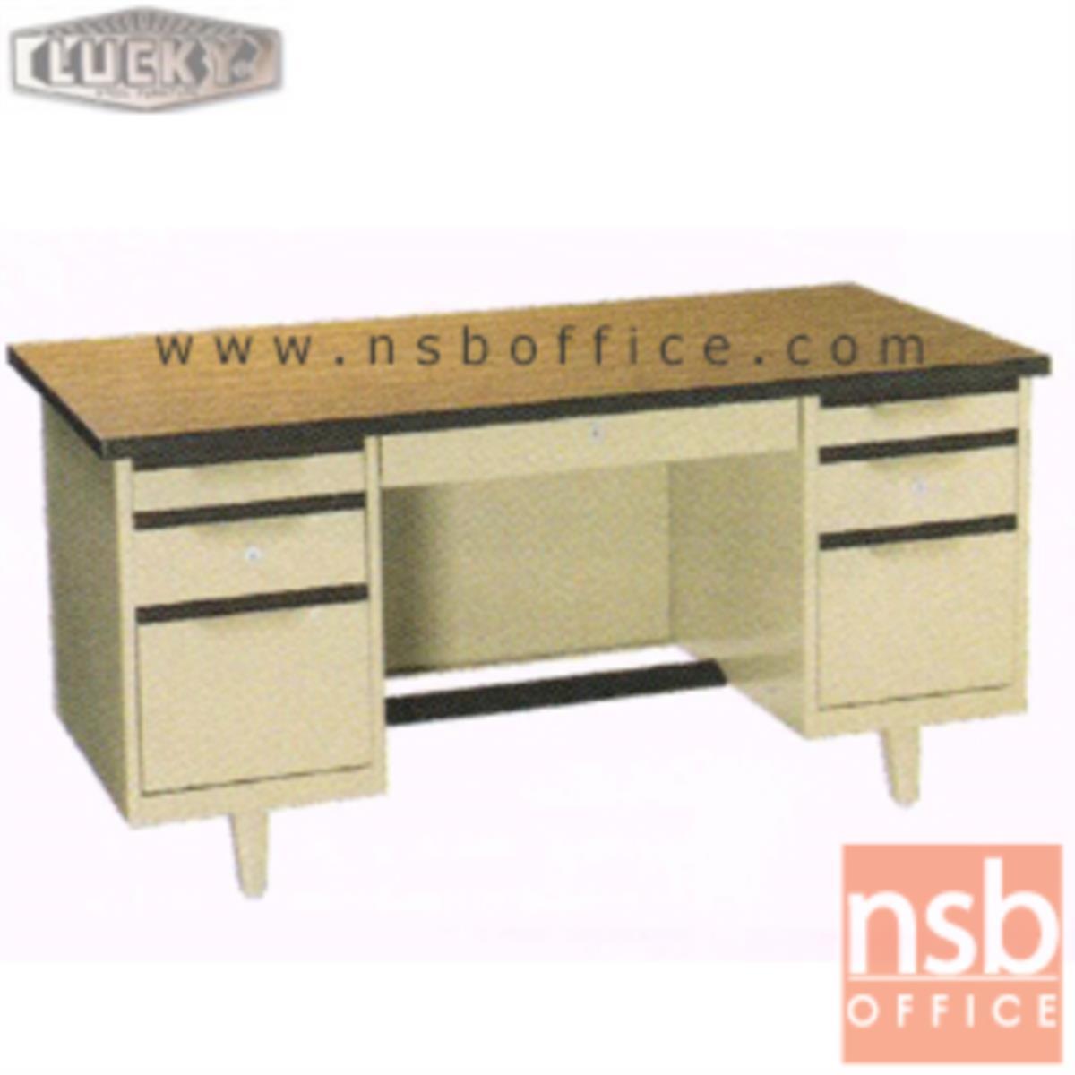 E28A107:โต๊ะทำงานเหล็กหน้าโฟเมก้าลายไม้ 7 ลิ้นชัก ยี่ห้อ Lucky  รุ่น NTC-2654,NTC-3060,NTC-3472