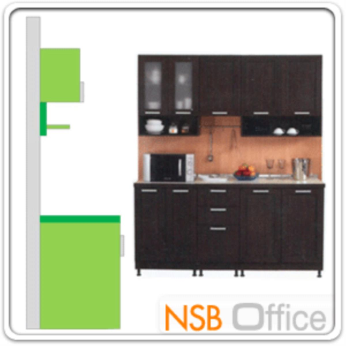 ชุดตู้ครัวหน้าเรียบ 180W cm.  รุ่น STEP-004  พร้อมตู้แขวนลอย