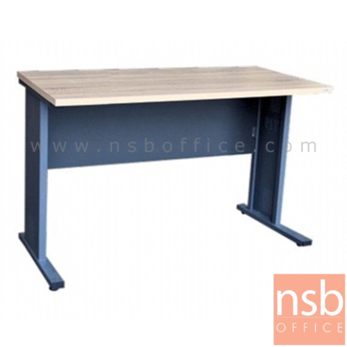 A10A064:โต๊ะทำงาน  รุ่น Felicia (เฟลิเซีย) ขนาด 120W cm. ขาเหล็ก  สีโซลิคตัดเทาเข้มหรือสีมูจิตัดเทาเข้ม