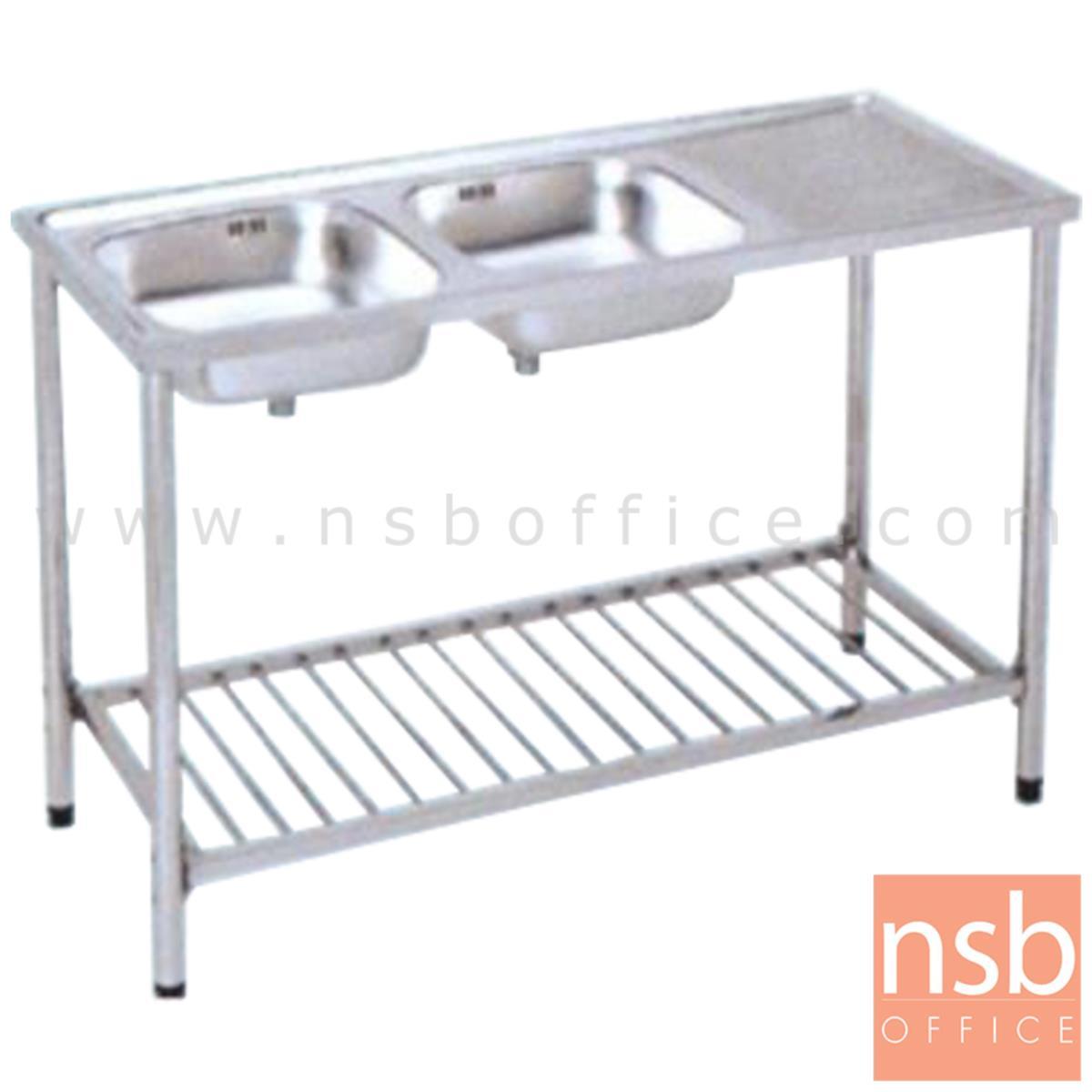 G12A010:ซิ้งค์ล้างจาน 2 บ่อ สเตนเลส พร้อมที่คว่ำจาน รุ่น Sturgess (สเตอเจส)