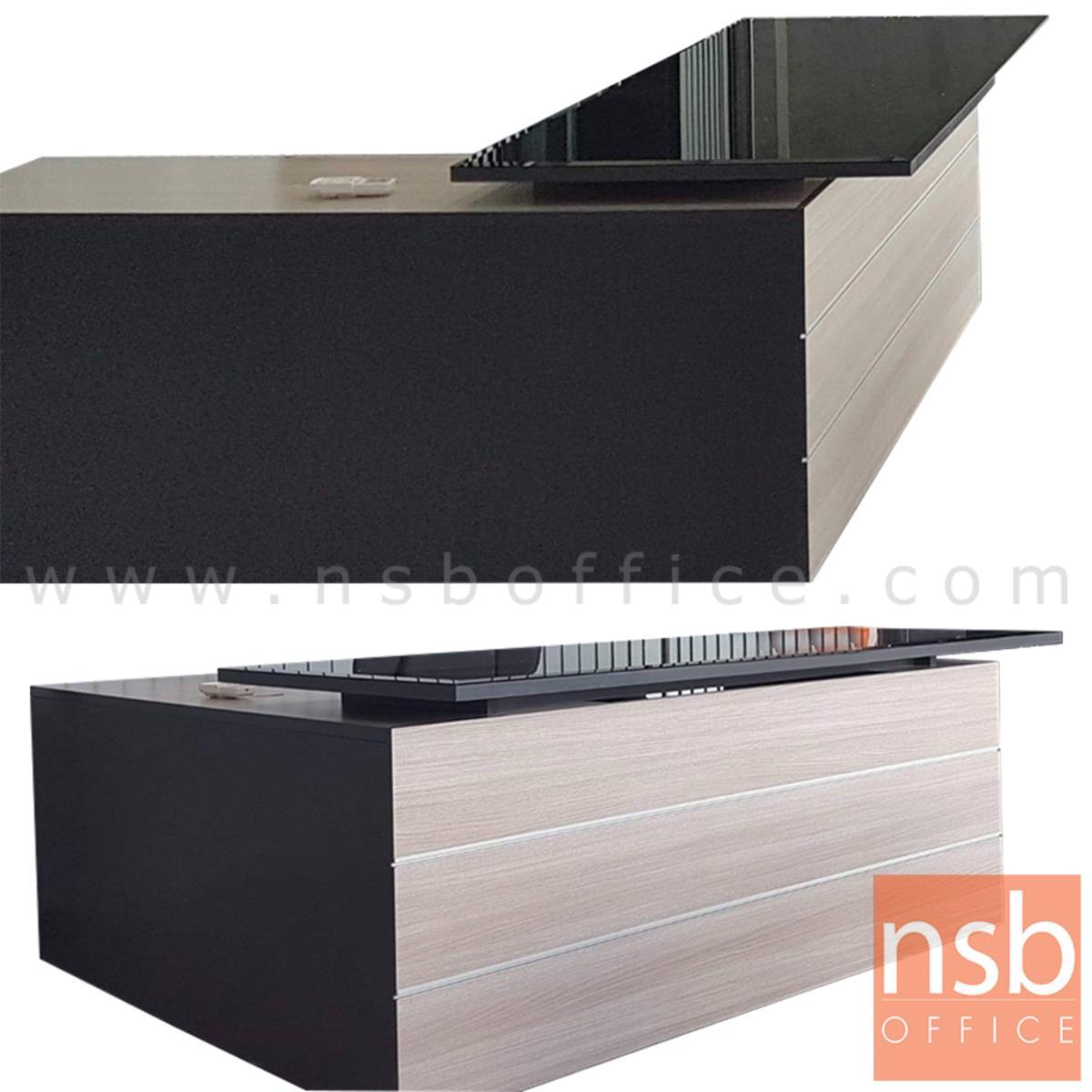 A16A083:โต๊ะทำงานตัวแอลหน้าท็อปกระจก รุ่น Cadillac (คาดิลแลค) ขนาด 180W cm.