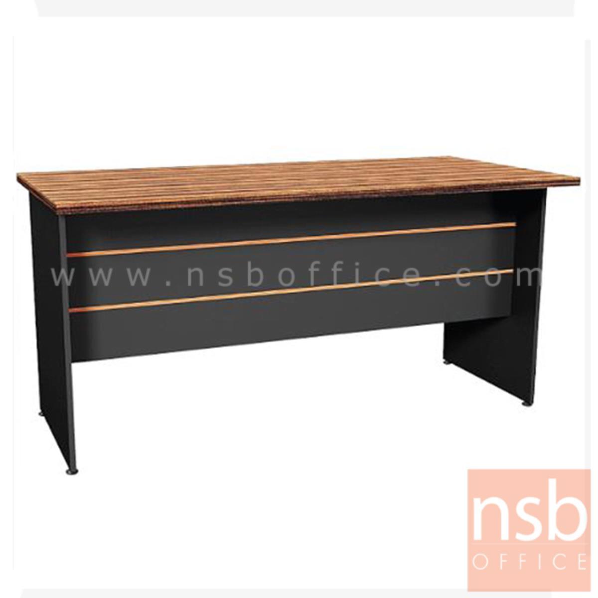 A26A020:โต๊ะทำงาน รุ่น Grenada (เกรนนาดา) ขนาด 160W ,180W cm.  ขาไม้ สีลายไม้ซีบราโน่ตัดดำ ขอบ ROSEGOLD