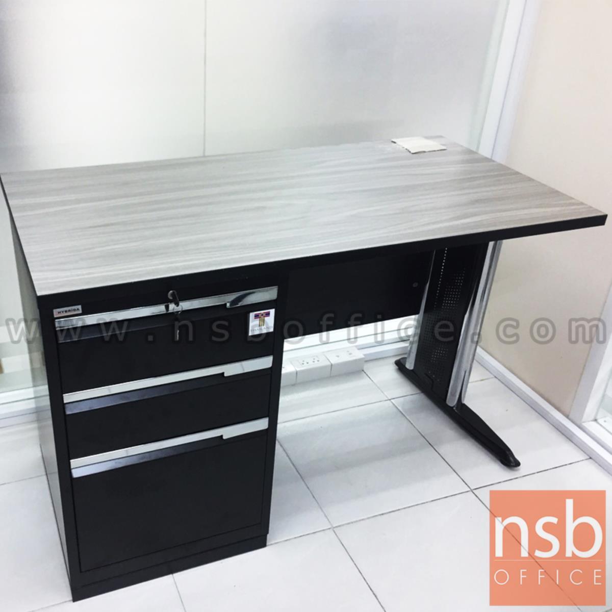 A18A050:โต๊ะทำงาน 3 ลิ้นชัก มีบังโป๊  ขนาด 120W ,135W ,150W ,180W cm. ขาเหล็ก