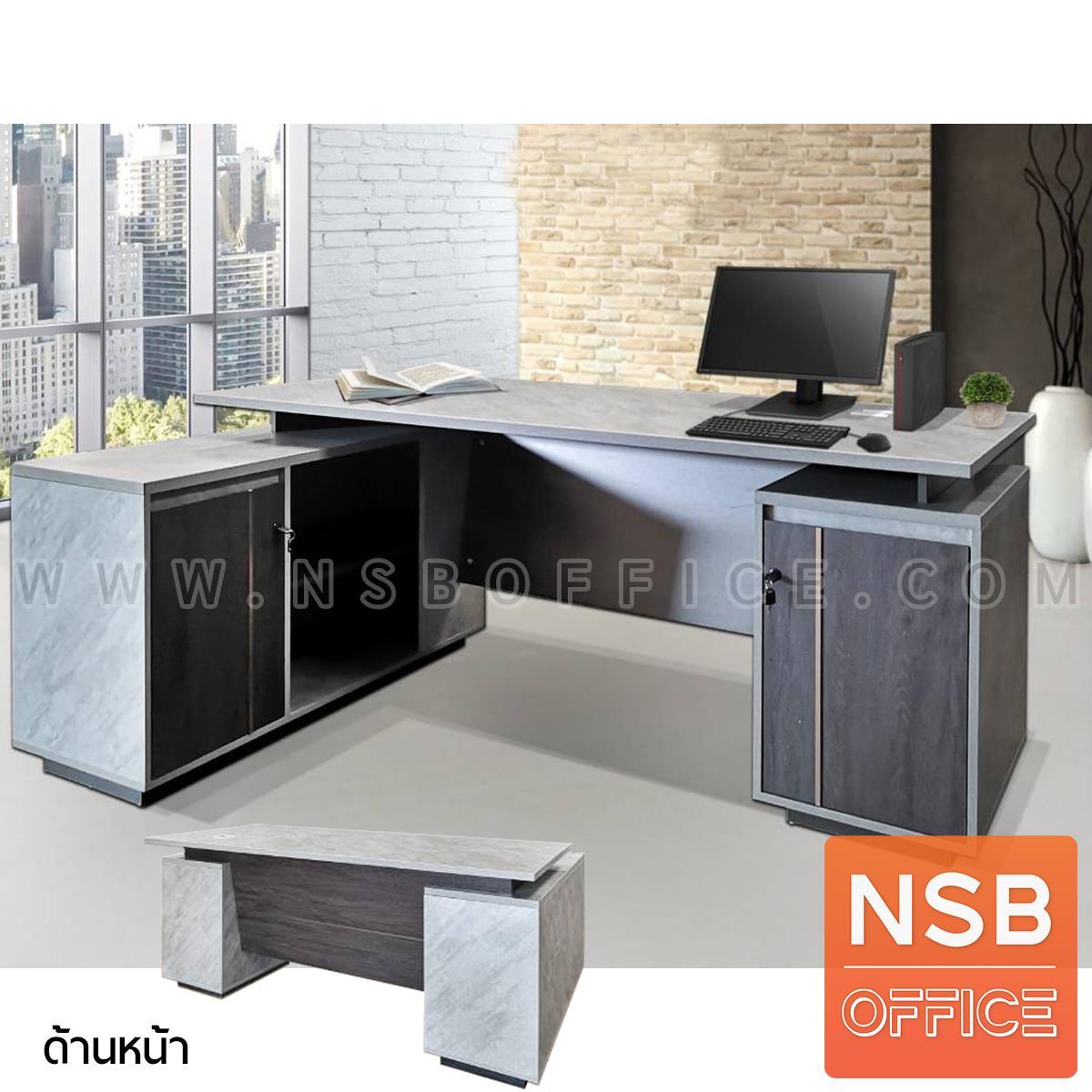 A30A040:โต๊ะทำงานตัวแอล รุ่น Vicky (วิกกี้) ขนาด 180 cm. 2 ลิ้นชัก ตู้ข้างบานเปิดแบบ Soft Close