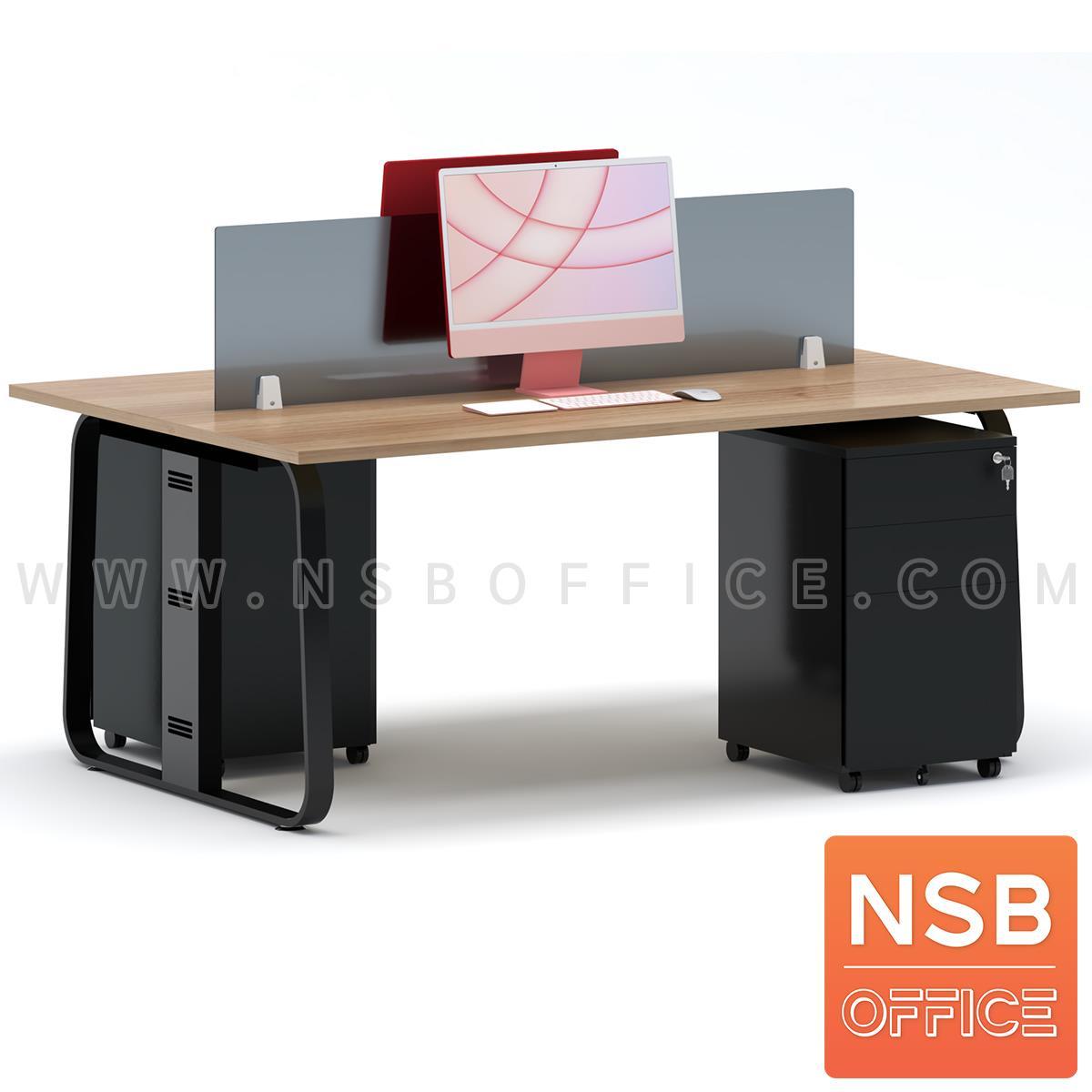 ชุดโต๊ะทำงานกลุ่มขาเหล็ก 2 ที่นั่ง รุ่น Lenka 5 (เล็งกา 5)  ขนาด 180W*120D cm พร้อมมินิสกรีนและตู้ลิ้นชักเหล็กล้อเลื่อน