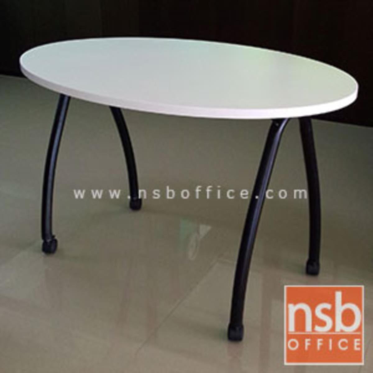 A18A030:โต๊ะทำงานทรงวงรี ขนาด 120W*75H cm.    ขาเหล็กโค้งล้อเลื่อน