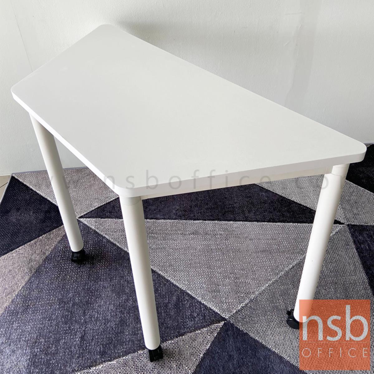 โต๊ะทำงานทรงคางหมูล้อเลื่อน รุ่น Malfoy (มัลฟอย) ขนาด  120W cm. โครงขาสีขาว
