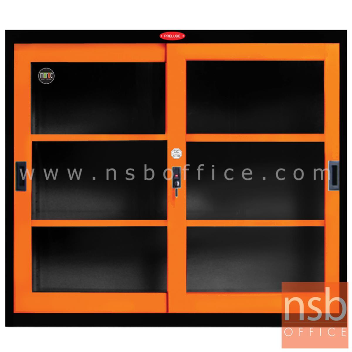 E04A049:ตู้เหล็ก 2 บานเลื่อนเตี้ย หน้าบานสีสันโครงตู้สีดำ รุ่น Decay (ดีเคย์) ขนาด 3, 4 ฟุต