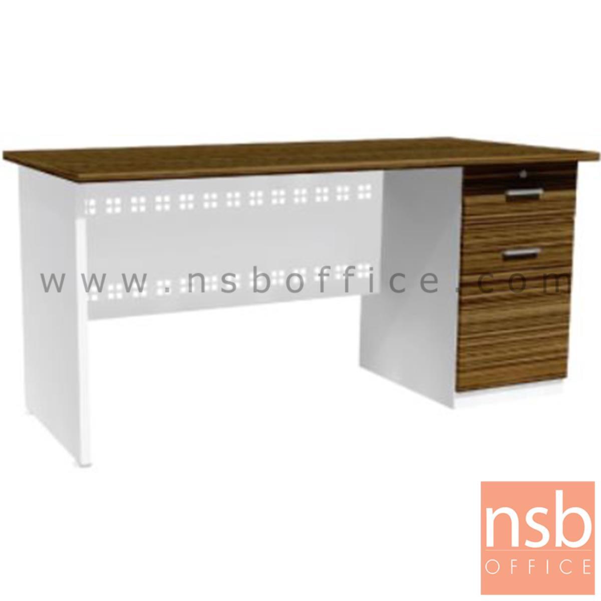 โต๊ะทำงาน  รุ่น Truvelli (ทรูวิลลี่) ขนาด 120W ,155W cm. พร้อมบังโป๊เหล็ก สีซีบราโน่-ขาว