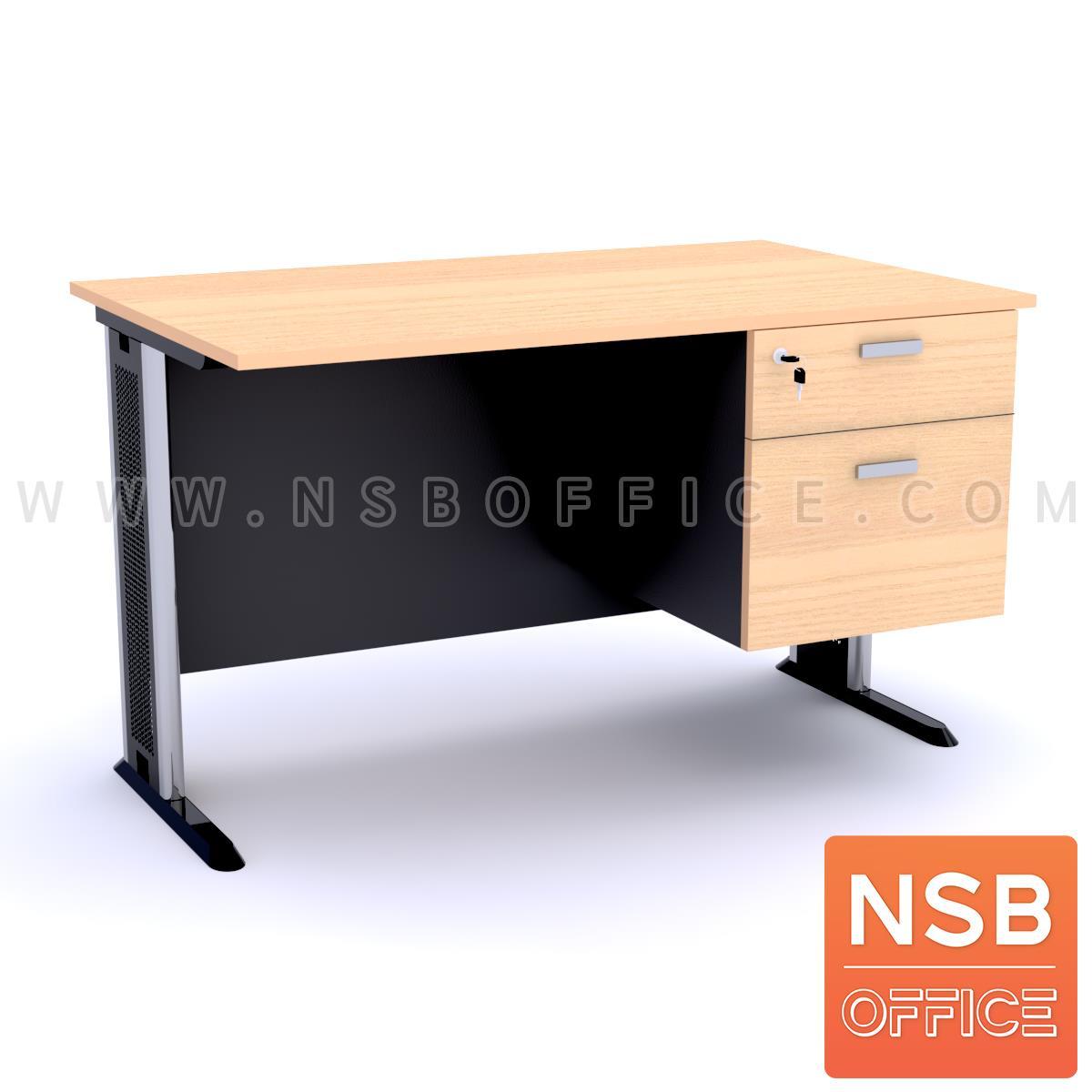 A10A037:โต๊ะทำงาน 2 ลิ้นชัก  120W, 135W, 150W, 180W (75D, 80D) cm. บังตาไม้ ขาเหล็กตัวแอล