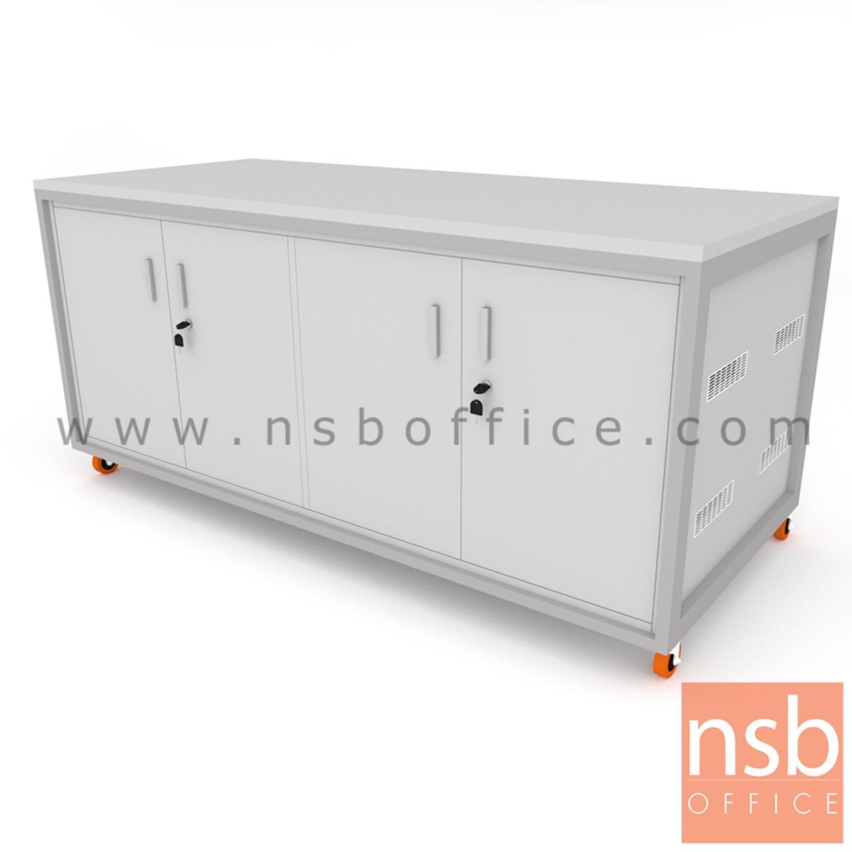 ตู้แลปเก็บอุปกรณ์ บานเปิด รุ่น Senior (ซีเนี่ยร์) top HPL ขนาด 150W, 180W cm. ล้อเลื่อน เคลื่อนย้ายได้