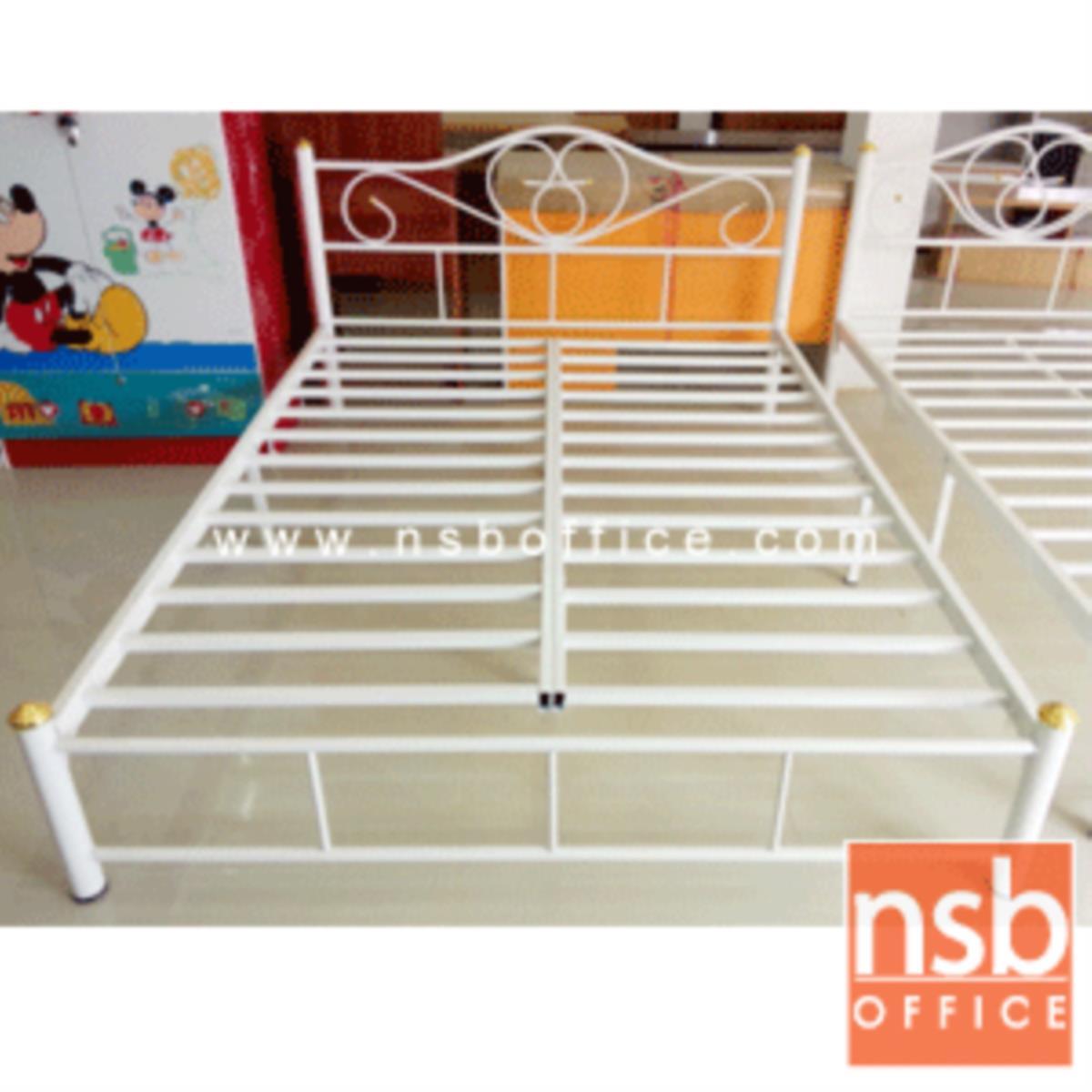 G11A015:เตียงเหล็ก 5 ฟุต รุ่นมาตรฐาน หนา 0.7 mm. ขนาด 152.4W* 200D* 33H cm. (ลายบัว)