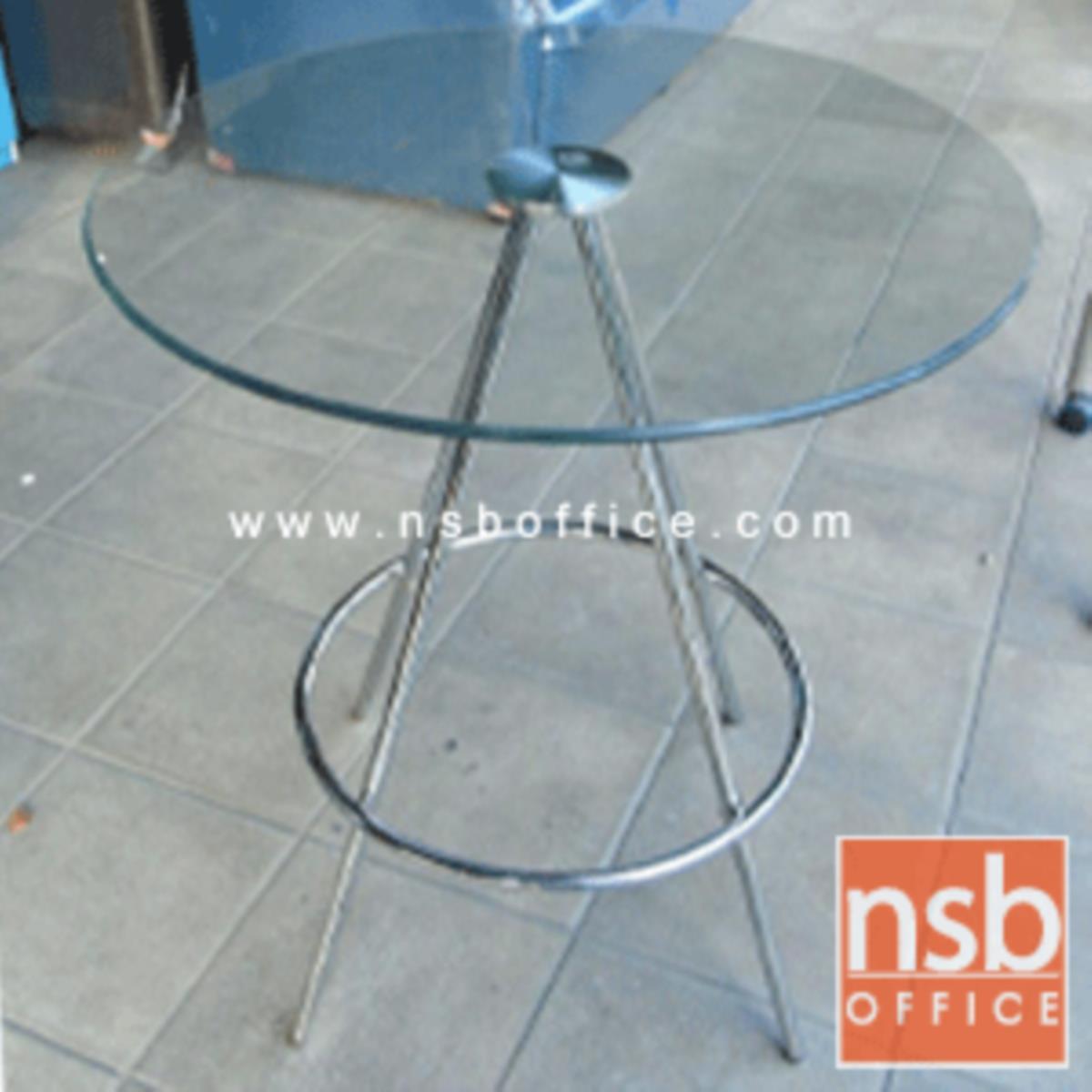 A09A054:โต๊ะหน้ากระจก รุ่น Dillon (ดิลลอน) ขนาด 60W ,60Di cm.   โครงขาเหล็กชุบโครเมี่ยม