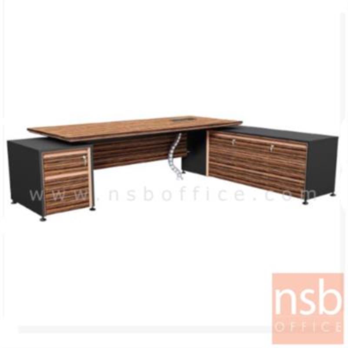 โต๊ะผู้บริหารตัวแอล  รุ่น Extrême ขนาด 289.5W cm. พร้อมบังตา สีลายไม้ซีบราโน่ตัดดำ ขอบ ROSEGOLD