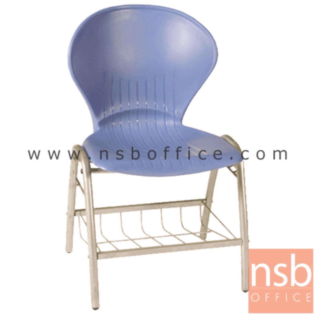 เก้าอี้อเนกประสงค์เฟรมโพลี่ รุ่น A366  มีตะแกรงวางของ ขาเหล็ก