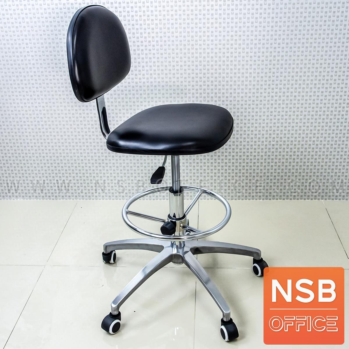 เก้าอี้บาร์ที่นั่งเหลี่ยมล้อเลื่อน รุ่น Vernis (เวอร์นิส)  ขาอลูมิเนียม หนังดำ