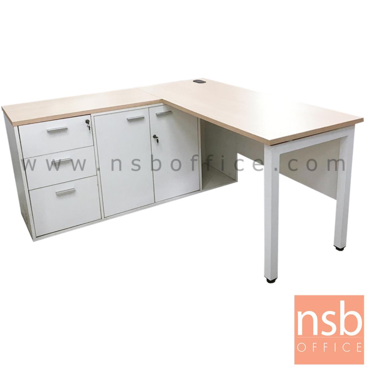 L10A202:โต๊ะทำงานตัวแอล   ขนาด 150W1*150W2 cm. พร้อมตู้เก็บเอกสาร ขาเหล็ก