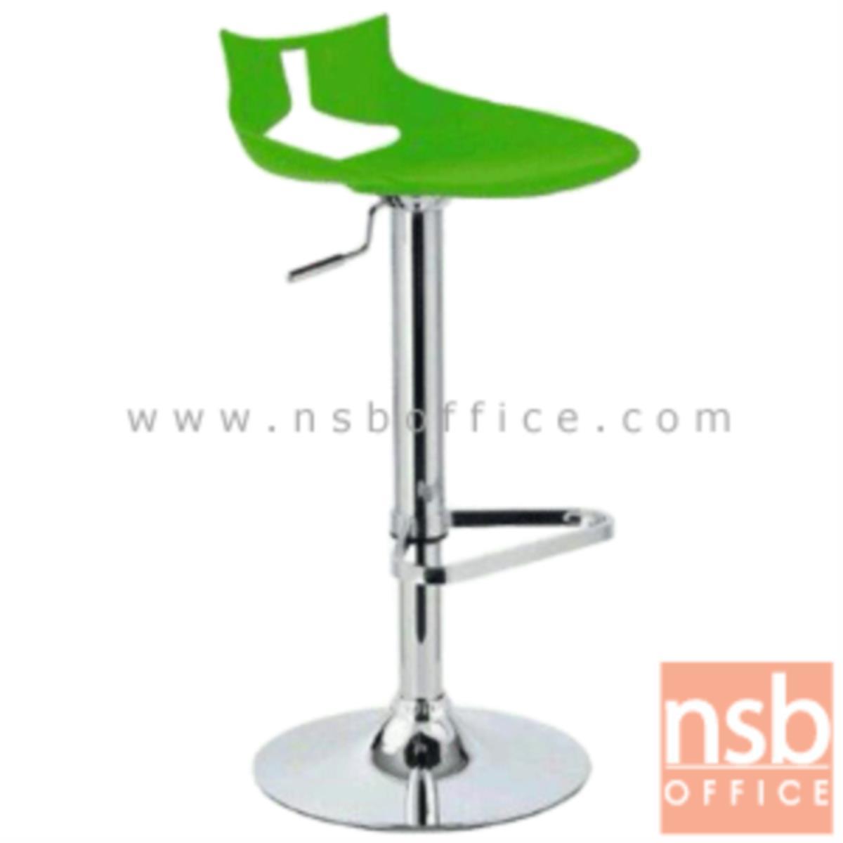 B09A141:เก้าอี้บาร์สูงพลาสติก(PP) รุ่น Casos (คาซอส) ขนาด 41W cm. โช๊คแก๊ส ขาโครเมี่ยมฐานจานกลม (สต็อกสีขาว 2 ตัว)