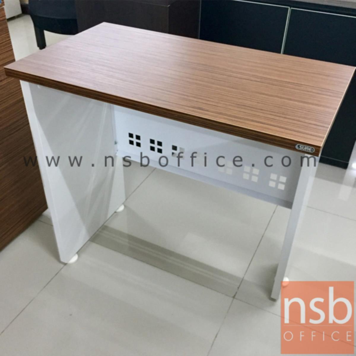 โต๊ะเข้ามุม  รุ่น Cribbie (คลิบบี้) ขนาด 80W cm. พร้อมบังโป๊เหล็ก สีซีบราโน่-ขาว
