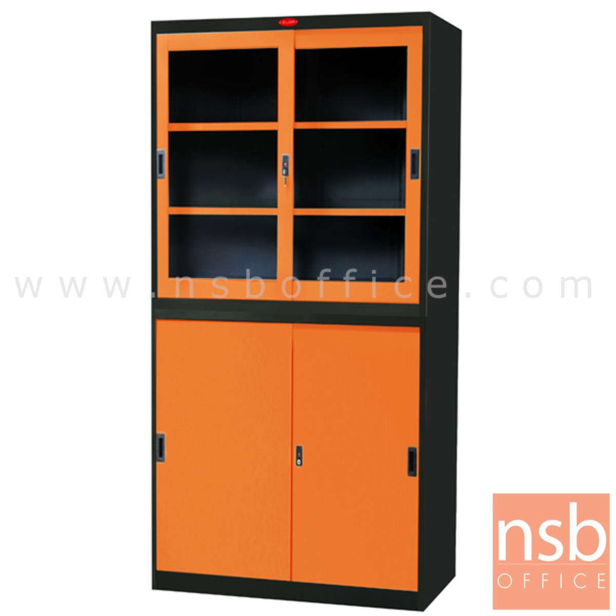 E04A054:ตู้เอกสารบานเลื่อน บนกระจกล่างทึบ รุ่น PPK-301 หน้าบานสีสันโครงตู้สีดำ