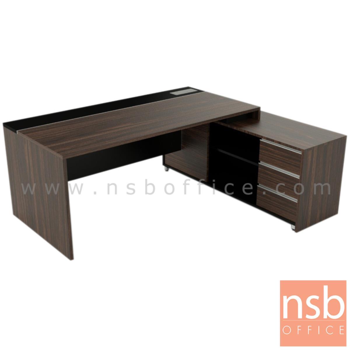 A30A030:โต๊ะผู้บริหารตัวแอล รุ่น WISCONCIN (วิสคอนซิน) ขนาด 180W ,200W cm. พร้อมตู้ข้าง