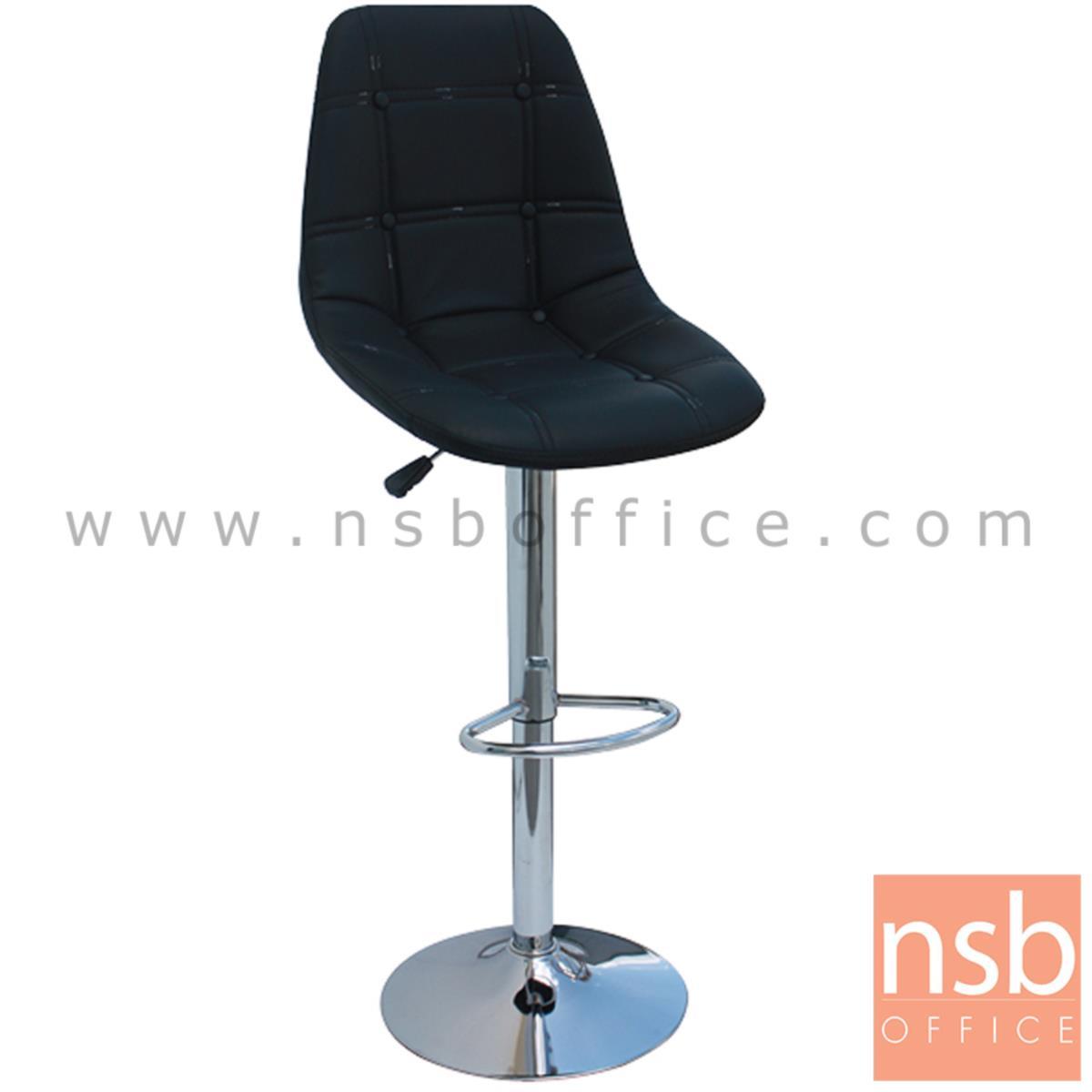 B18A068:เก้าอี้บาร์สูงหนังเทียม รุ่น Oli (โอลิ)  โช๊คแก๊ส ขาโครเมี่ยมฐานจานกลม