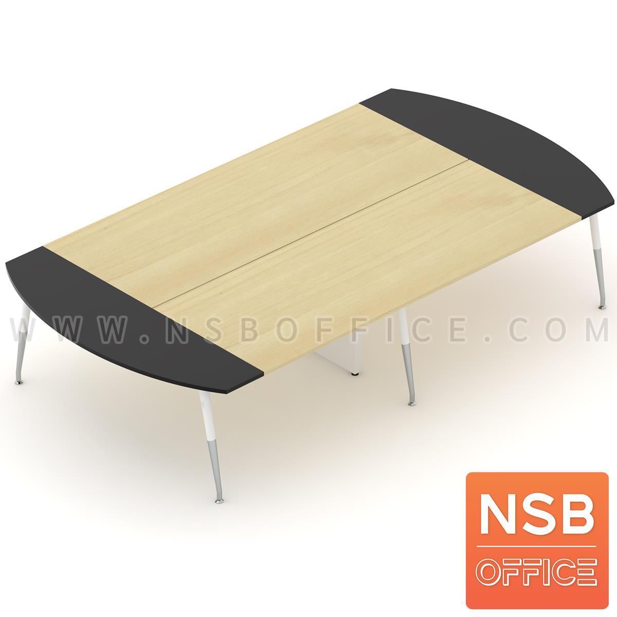 A05A169:โต๊ะประชุมหัวโค้ง ขาปลายเรียว ลึก 180 cm.  ขากลางมีกล่องนำสายไฟ