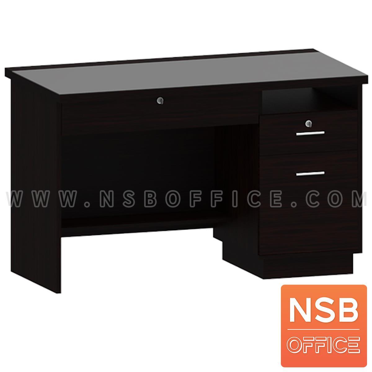 โต๊ะคอมพิวเตอร์หน้ากระจกสีชาดำ 2 ลิ้นชัก 1 บานเปิด  รุ่น Prescott (เพรสคอต) ขนาด 120W cm.