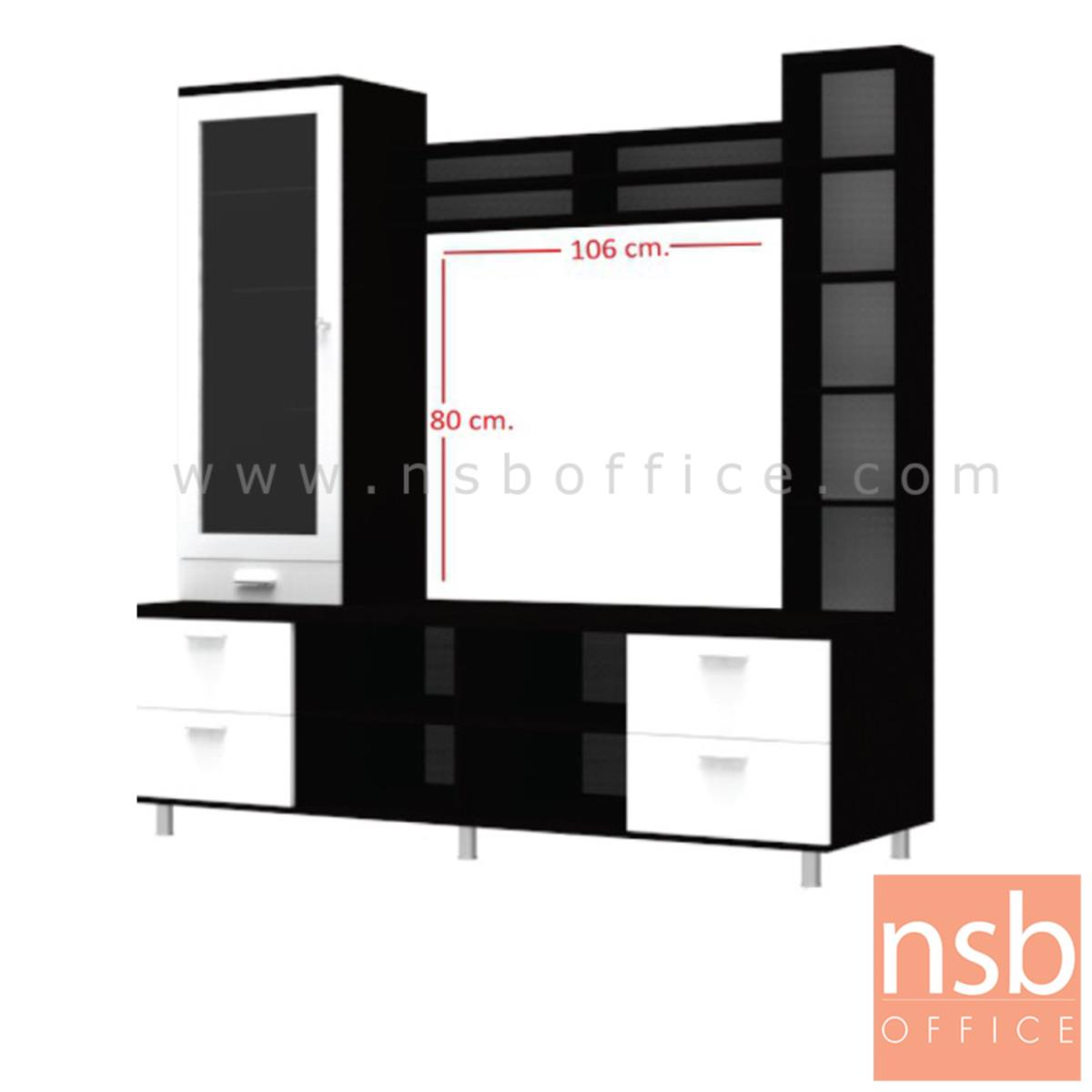 ชุดตู้วางทีวีไม้พีวีซี  รุ่น Taron (ทารอน) ขนาด 180W*180H cm. รุ่นประหยัด