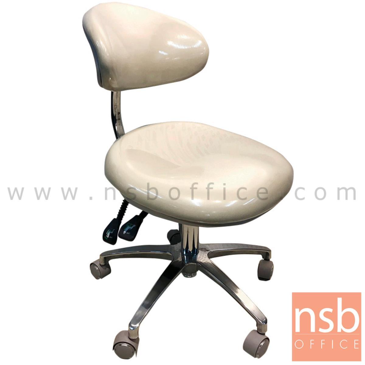 B09A206:เก้าอี้สำหรับผู้มีอาการปวดหลัง ปรับล็อกเอนได้ หุ้มหนัง รุ่น Purcell (เพอร์เซลล์)  ขาอลูมิเนียม ลูกล้อเก็บเสียง