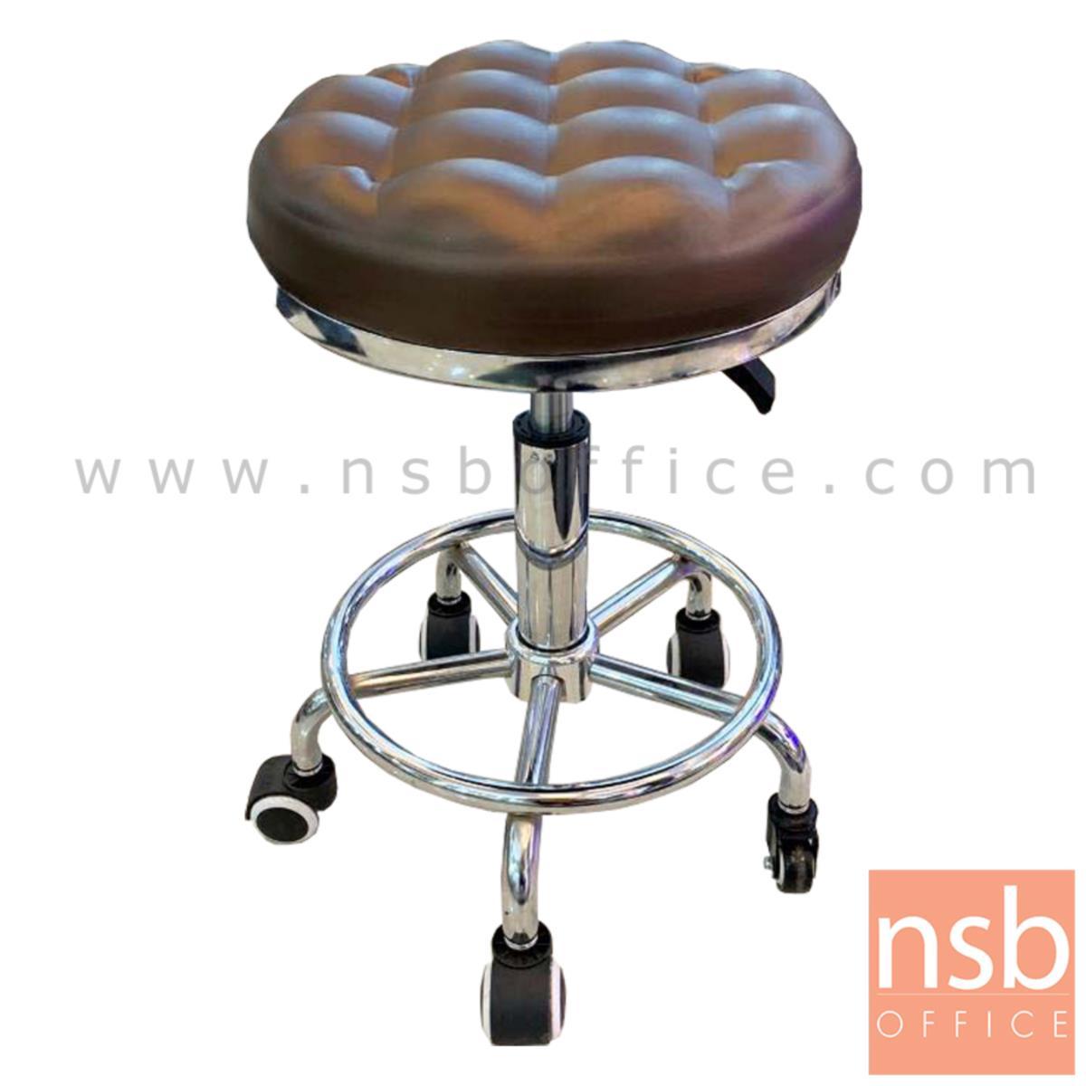 B02A078:เก้าอี้บาร์สตูลที่นั่งกลมล้อเลื่อน รุ่น Caspian (แคสเปียน)  โช๊คแก๊ส ขาเหล็กชุบโครเมี่ยม