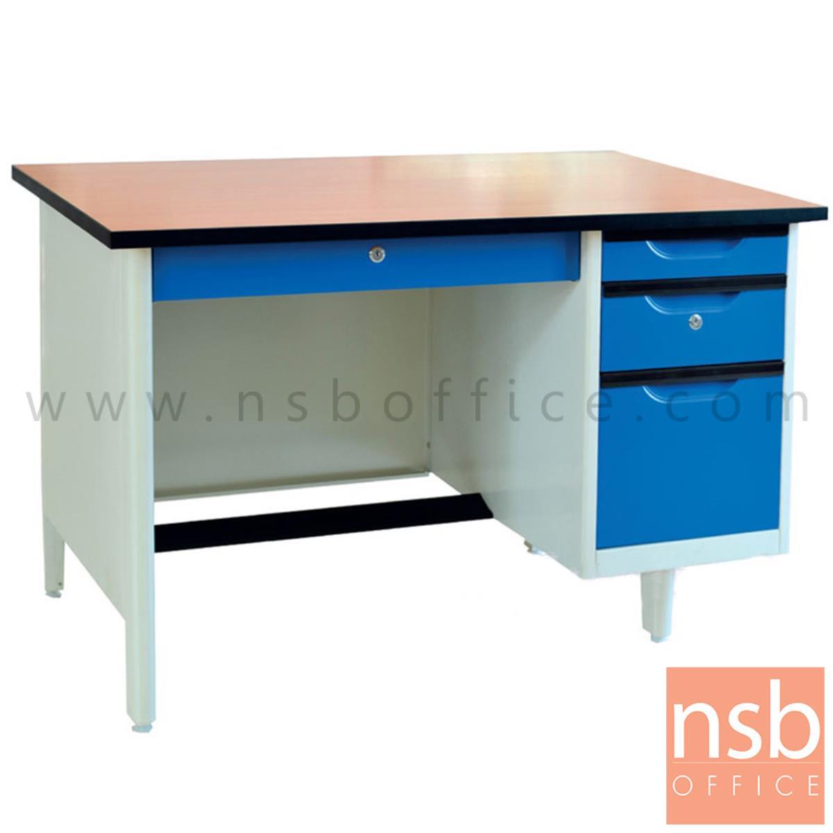 โต๊ะทำงานเหล็กหน้า TOP ไม้เมลามีน 4 ลิ้นชัก รุ่น EL-TW ขนาด 3 ,3.5 ,4 ฟุต