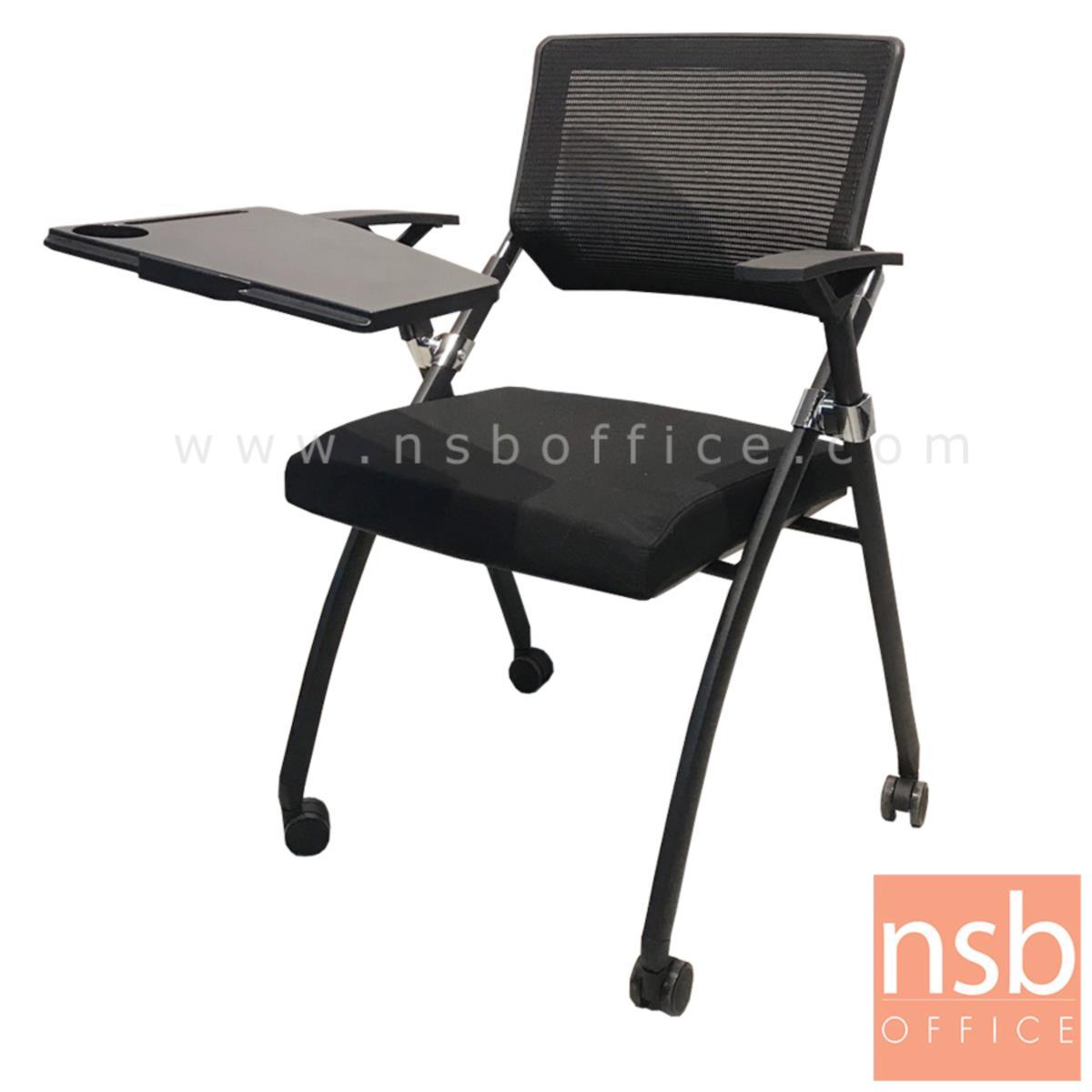 B07A094:เก้าอี้เลคเชอร์หลังเน็ตล้อเลื่อน รุ่น Minogue (มิโนก)  ขาเหล็กพ่นสีดำ