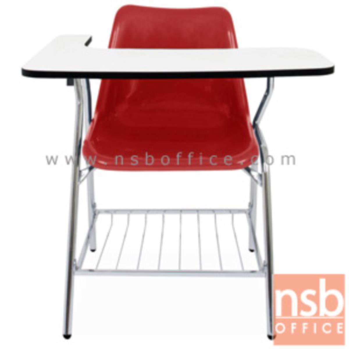 B07A073:เก้าอี้เลคเชอร์เฟรมโพลี่ รุ่น YT-F1 (มีตะแกรงวางของ) ขาเหล็กชุบโครเมี่ยม