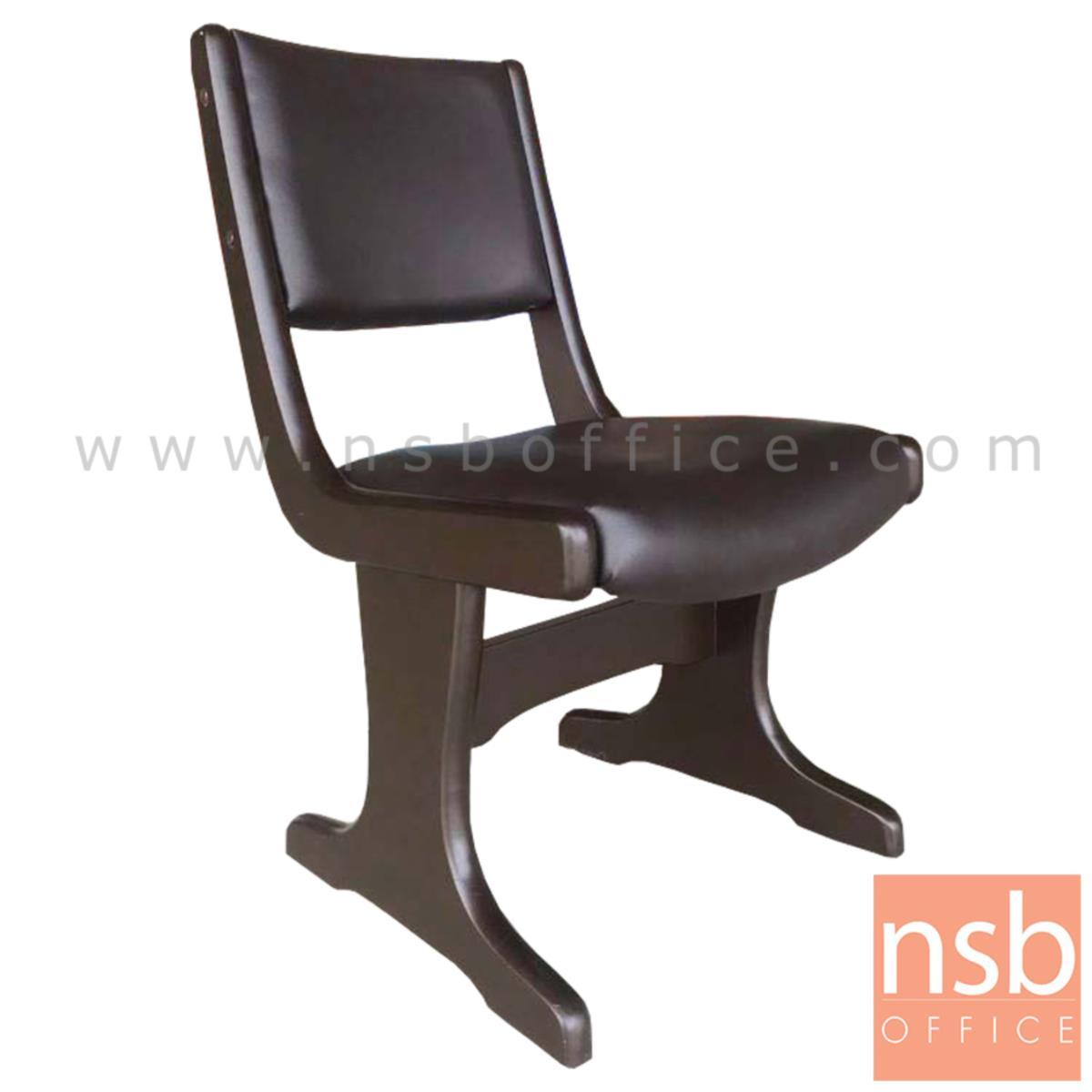 G14A067:เก้าอี้ไม้ยางพาราที่นั่งหุ้มหนังเทียม  42W cm. ขาไม้ตัวที