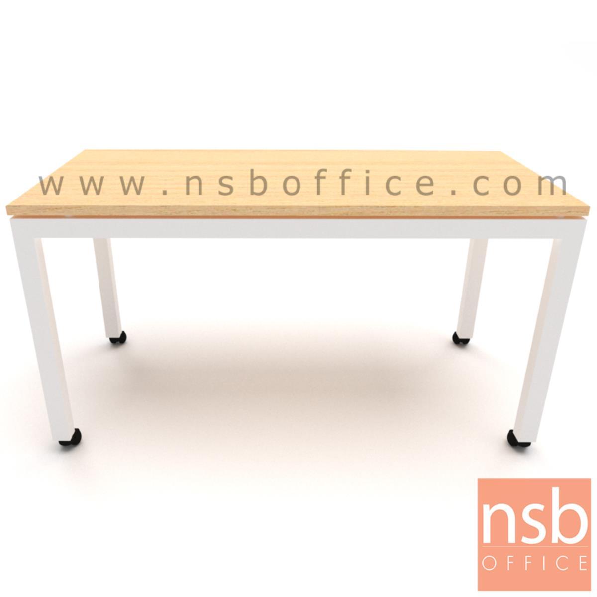 โต๊ะโล่งล้อเลื่อน  ขนาด 60W, 70W, 120W, 140W cm.  เมลามีน ขาเหล็กพ่นสี ล้อเลื่อน
