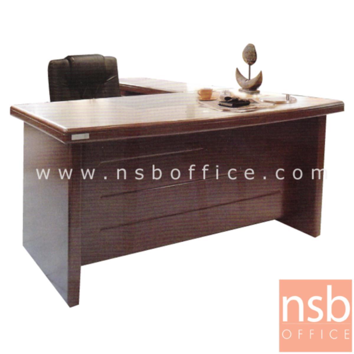 A06A040:โต๊ะผู้บริหารตัวแอล 4 ลิ้นชัก  รุ่น Flourish (ฟลอริช) ขนาด 140W cm. พร้อมตู้ข้าง