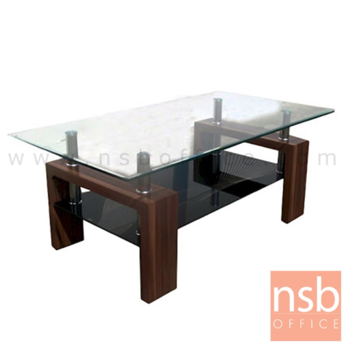 B13A172:โต๊ะกลางกระจก  รุ่น Cormac (คอร์แม็ค) ขนาด 110W cm. ขาลายไม้มะฮอกกานีเงา