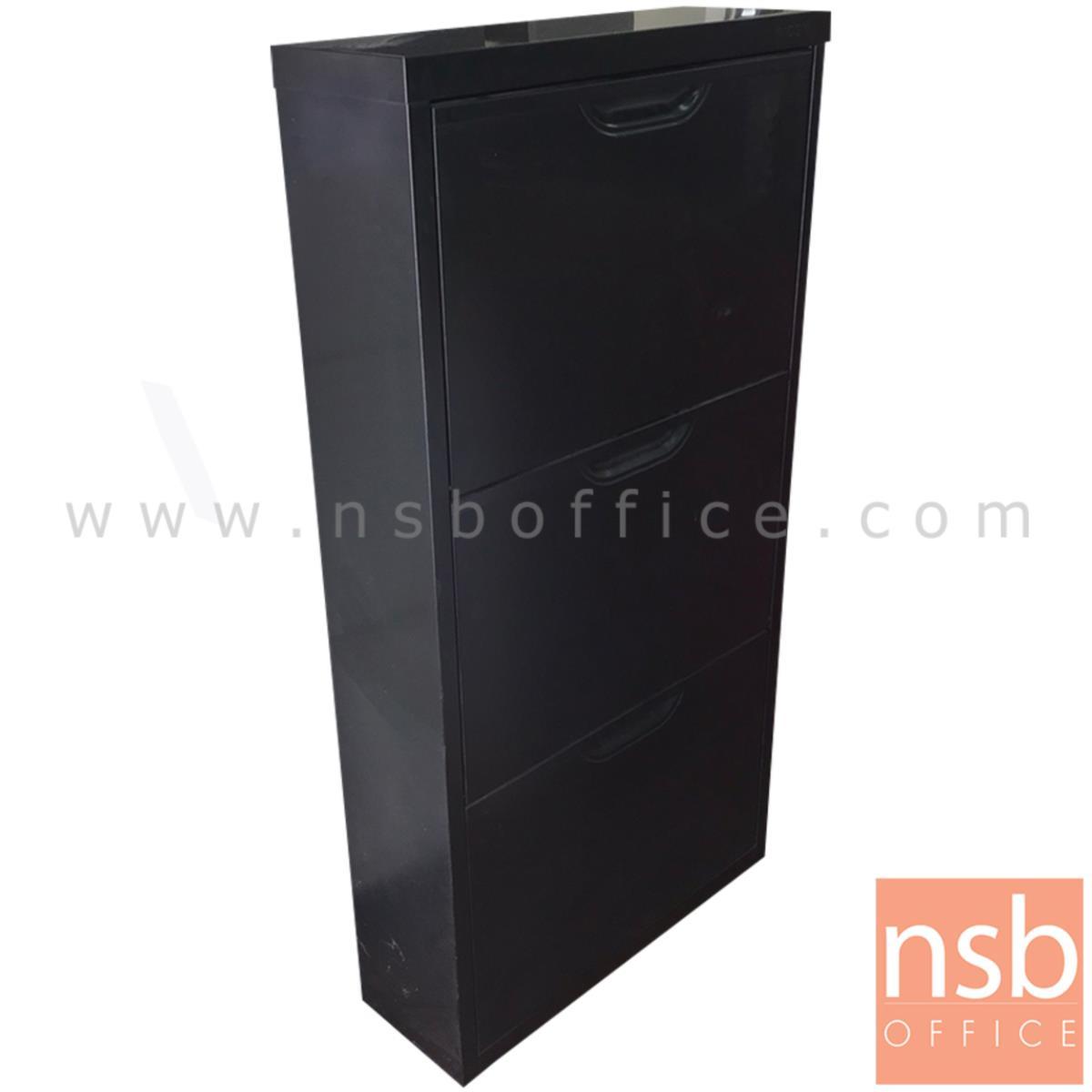 L10A222:ตู้เหล็กแขวนผนัง 3 บานสวิง  ขนาด 60W*117H cm. สีดำ