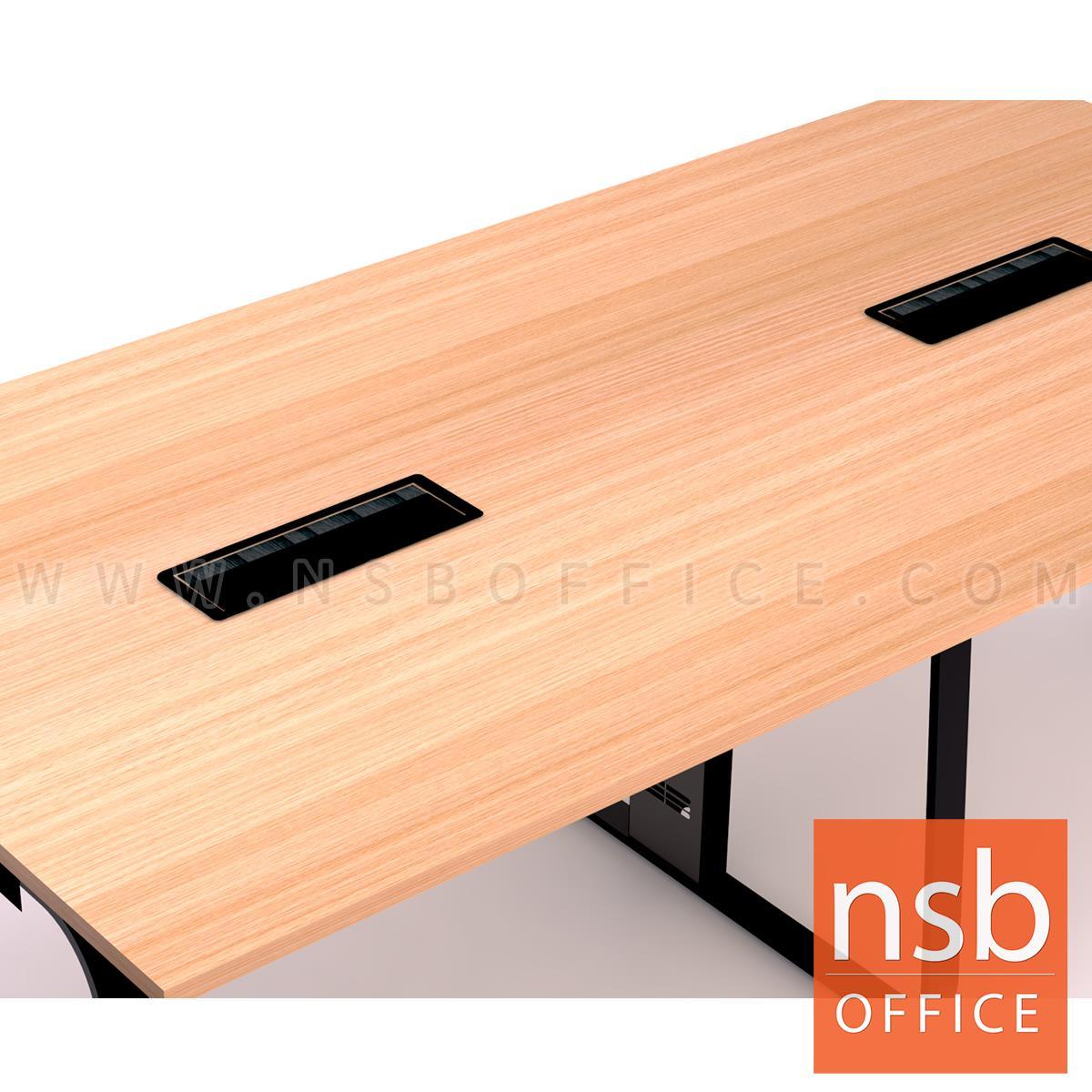 โต๊ะประชุมสี่เหลี่ยม รุ่น Trinity (ทรินิตี้) ขนาด 240W*120D cm.  พร้อมป๊อปอัพ รางไฟใต้โต๊ะ ขาเหล็กทรงแจกัน