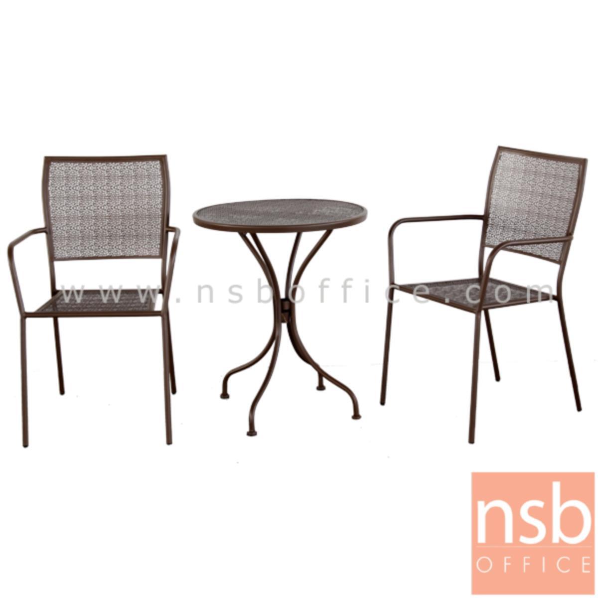 โต๊ะสนามโครงเหล็กหน้าท็อปกลม 60Di รุ่น COTTAGE-01 ขาเหล็กพ่นสี (ไม่รวมเก้าอี้)