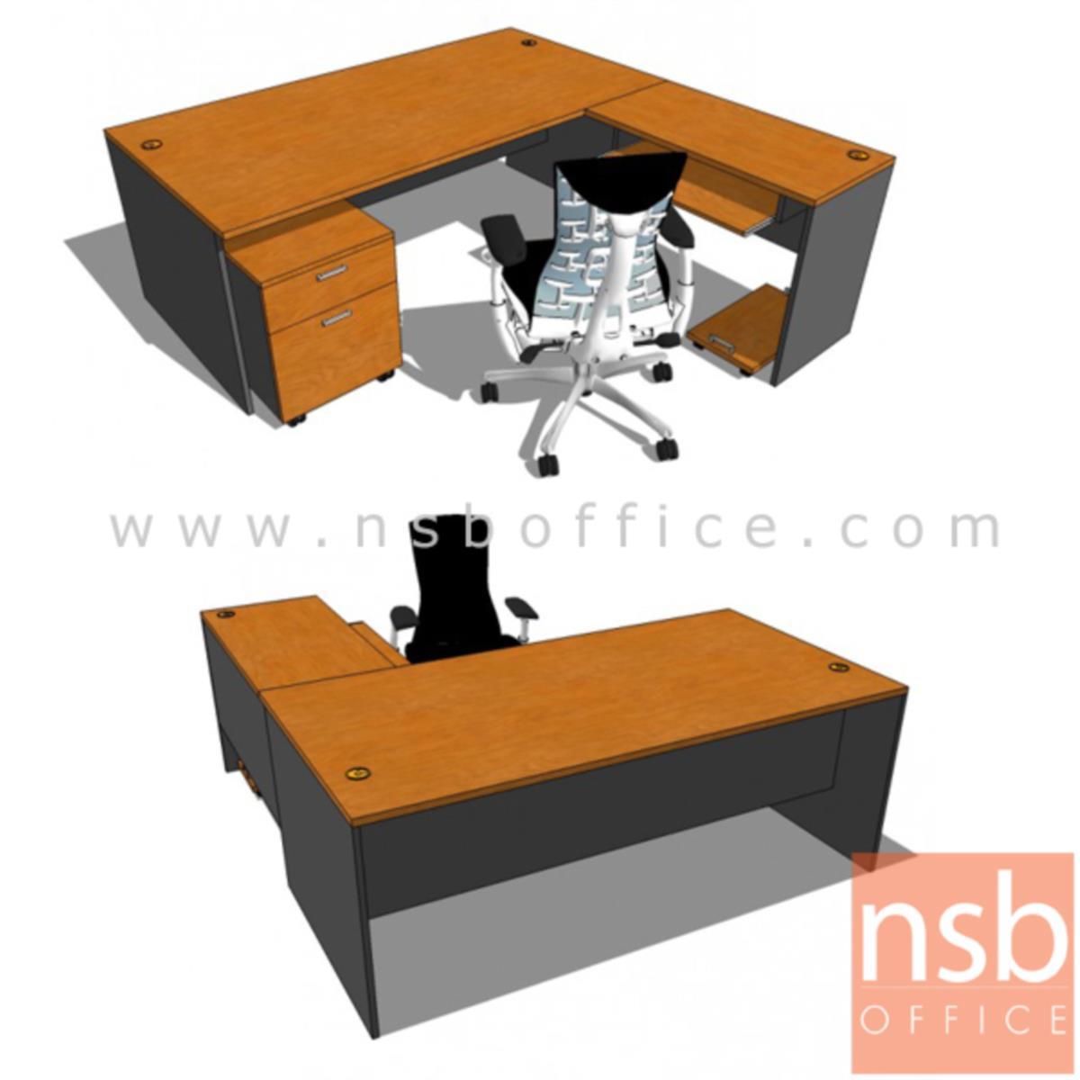 โต๊ะผู้บริหารตัวแอล  รุ่น Rebels (เรเบลส์) ขนาด 200W cm.  พร้อมตู้ลิ้นชัก คีย์บอร์ดและที่วางซีพียู