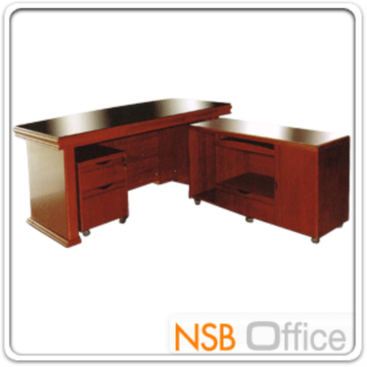 โต๊ะผู้บริหารตัวแอล  รุ่น Sinatra (ซินาตรา) ขนาด 160W cm. พร้อมตู้ลิ้นชักและตู้ข้าง