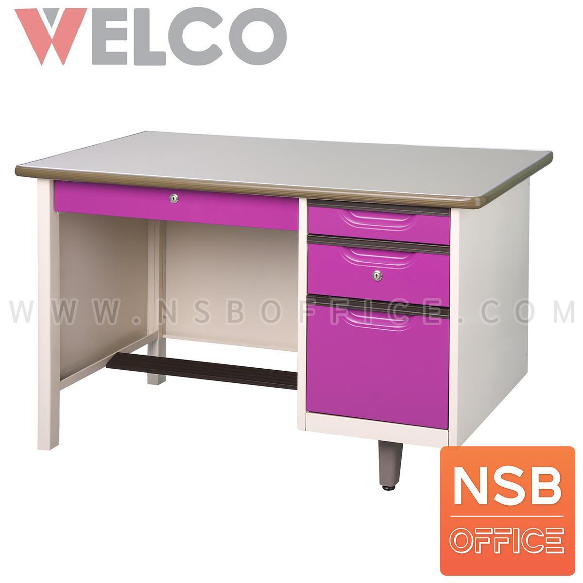 โต๊ะทำงานหน้าเหล็ก 4 ลิ้นชัก รุ่น WDE ขนาด 3 ,3.5 ,4 ฟุต