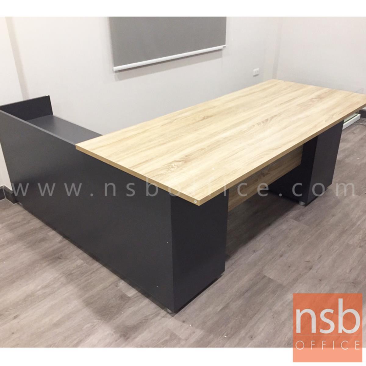โต๊ะทำงานผู้บริหาร 2 ลิ้นชัก  รุ่น RTK-1818  ขนาด 180W cm. พร้อมตู้แอลขวา เมลามีน สีแกรนโอ๊คตัดกราไฟท์