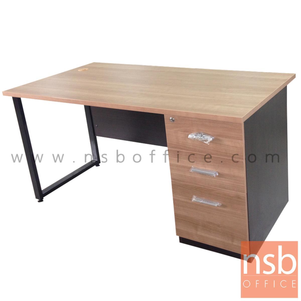 A18A040:โต๊ะทำงาน 3 ลิ้นชักทึบ  ขนาด 120W ,135W ,150W ,160W ,180W cm.  ขาเหล็กกล่องพ่นสี