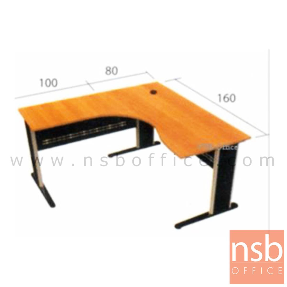 โต๊ะผู้บริหารตัวแอลหน้าโค้งเว้า  รุ่น Andorian ขนาด 160W1 ,180W1*180W2 cm.  ขาเหล็ก