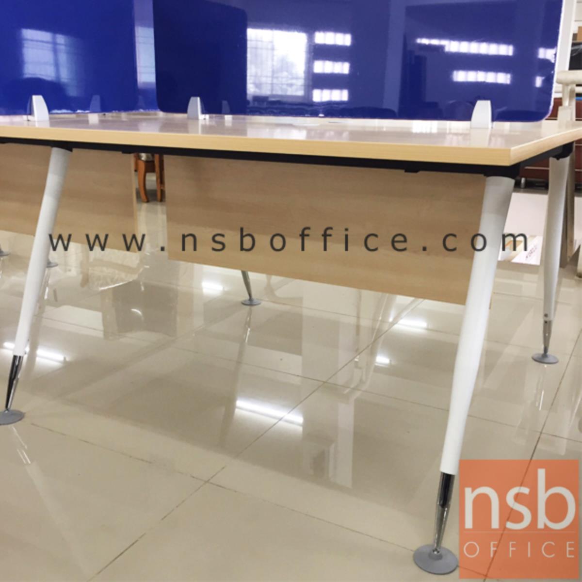 ชุดโต๊ะทำงานกลุ่ม 4 ที่นั่ง  รุ่น MN-APS12 ขนาด 240W cm. พร้อมมินิสกรีนผ้าฝ้าย