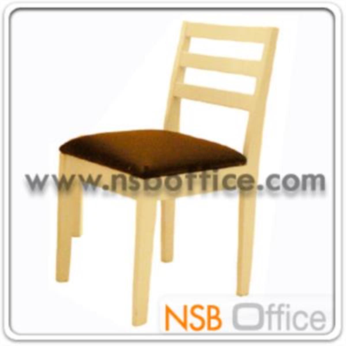 เก้าอี้ไม้ยางพาราที่นั่งหุ้มหนังเทียม รุ่น S1 ขาไม้