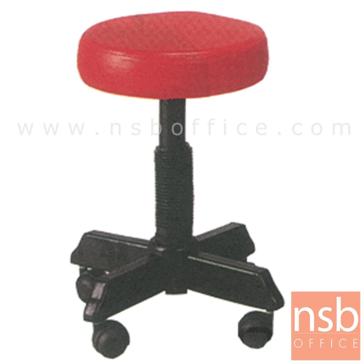 B09A077:เก้าอี้บาร์สตูลที่นั่งกลมล้อเลื่อน รุ่น New Hope  ขาเหล็กล้อ 5 แฉก